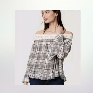 Ann Taylor Loft Blouse Off Shoulder Plaid Size L
